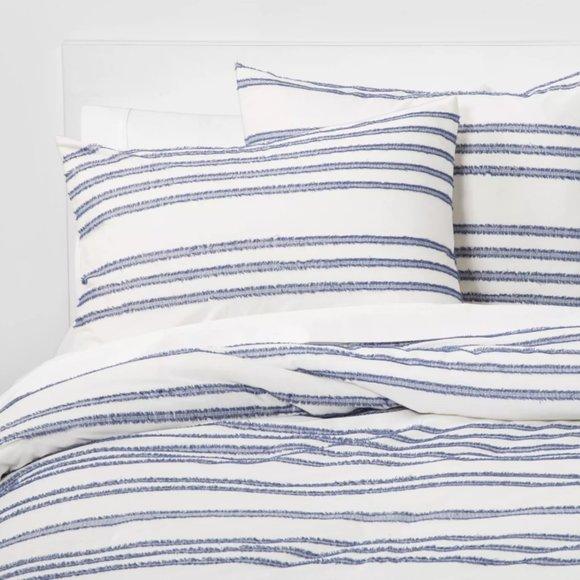 Threshold Bedding Eyelash Stripe Comforter Set Bluewhite King Size Poshmark